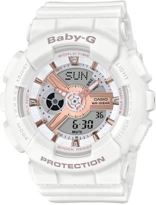 G-Shock Baby-g Women Analog-Digital White Resin Strap Watch 43.4mm
