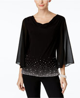 MSK Beaded Cowl-Neck Blouse