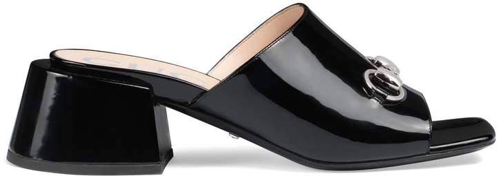Gucci Patent leather mid-heel slide