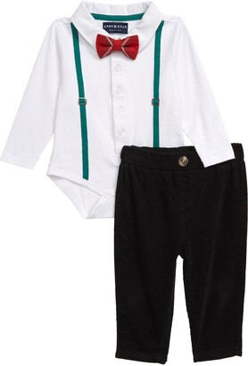Andy & Evan Suspender Polo Bodysuit, Pants & Bow Tie Set