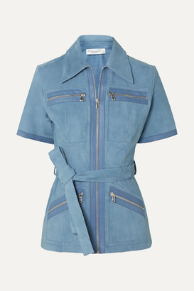 Victoria Victoria Beckham Victoria, Victoria Beckham - Leather-trimmed Suede Shirt - Blue