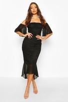 boohoo Mesh Frill Sleeve Lace Bodycon Midi Dress