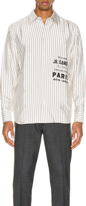 Jil Sander Logo Long Sleeve Shirt in Open Miscellaneous   FWRD