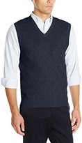 Haggar Men's Heather Diamond-Texture Stitch V-Neck Vest