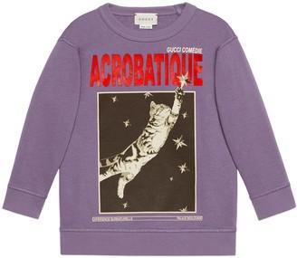 Gucci Children's cat print sweatshirt