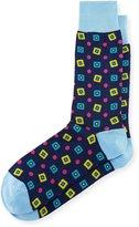 Bugatchi Diamond-Print Cotton-Blend Socks, Denim