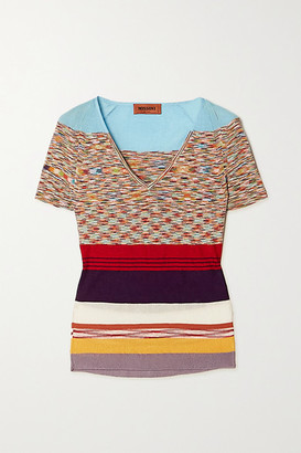 Missoni Striped Crochet-knit Cotton-blend Top - Turquoise