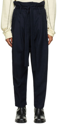 BED J.W. FORD Navy Wool Serge Trousers