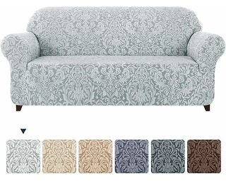 Overstock Subrtex 1-Piece 4 Seat Sofa Slipcover Jacquard Damask Stretch Cover