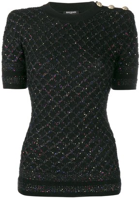 Balmain sequinned short-sleeved jumper