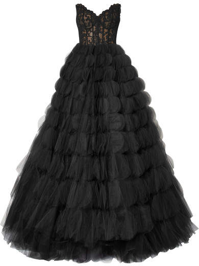 Oscar de la Renta Strapless Corded Lace And Tulle Gown - Black