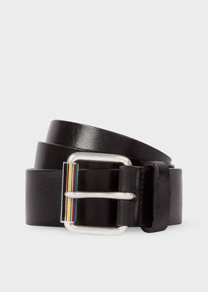 Paul Smith Men's Black Leather Belt With Signature Stripe Roller