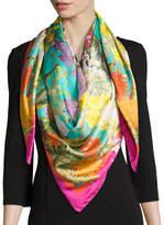 St. Piece Faye Large Silk Twill Scarf, Green/Pink