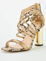 Very Cage Strap High Round Heel Sandal - Snake