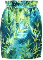 Versace Jungle-print satin miniskirt