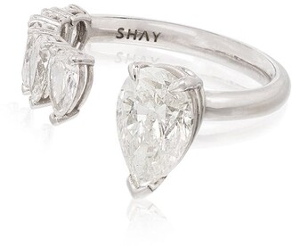 Shay 18kt White Gold Floating Pear Diamond Ring
