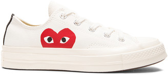 Comme des Garcons Converse Large Emblem Low Top Canvas Sneakers in White | FWRD