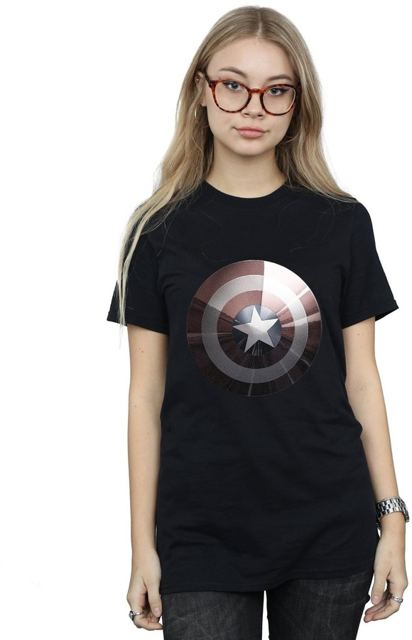 Marvel Women's Captain America Shield Shiny Boyfriend Fit T-Shirt Small Black