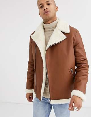 Asos Design DESIGN faux leather oversized belted biker jacket in tan