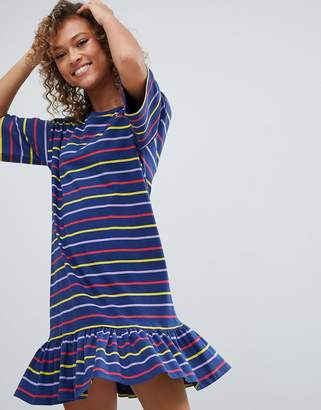 Asos Design DESIGN drop hem mini dress in cut about stripe-Multi