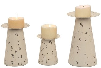 Transpac Metal 9 in. White Spring Distressed Galvanized Candle Holders Set of 3