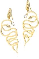 Just Cavalli Just Medusa Golden Steel Earrings w/Crystals