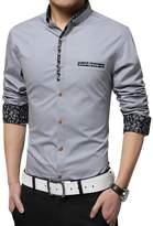 Louis Rouse Shirts Louis Rouse Men's Cotton Long Sleeve Fashion Slim Fit Button Down Dress Shirt (XXXL, Grey)