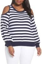 MICHAEL Michael Kors Stripe Cold Shoulder Sweater