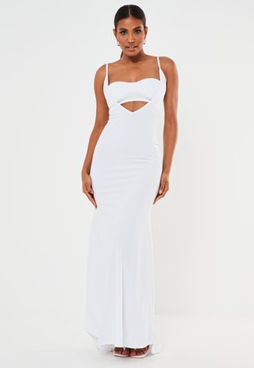 Missguided White Scuba Crepe Bandeau Insert Maxi Dress
