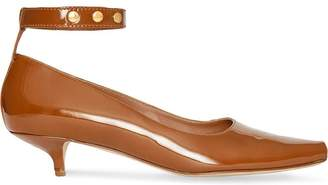 Burberry Patent Leather Peep-toe Kitten-heel Pumps