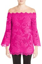 Marchesa Women's Off The Shoulder Illusion Lace Top