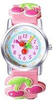 Jewtme Kids' JW0046 Cherry Pattern Silicone Strap Cartoon Watch Pink