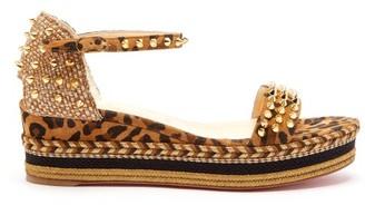 Christian Louboutin Madmonica 60 Studded Flatform Sandals - Womens - Leopard