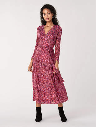 Diane von Furstenberg Sabina Mesh Faux-Wrap Dress