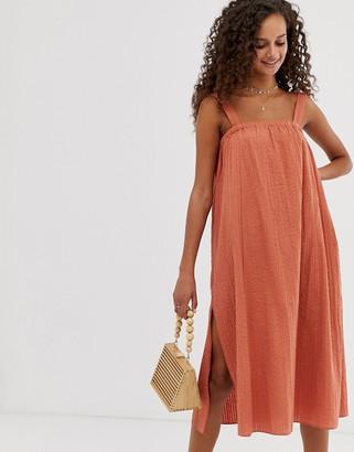 Asos Design DESIGN trapeze midi sundress-Brown