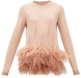 No.21 No. 21 - Ostrich Feather-embellished Virgin Wool Sweater - Womens - Light Pink