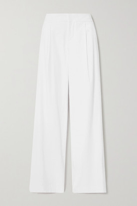 Alice + Olivia Eric Pleated Linen-blend Wide-leg Pants - White