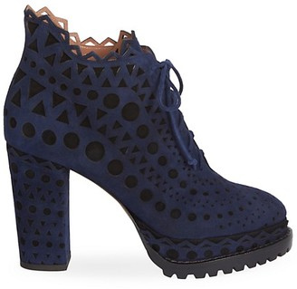 Alaia Lace-Up Laser Cut Suede Ankle Boots