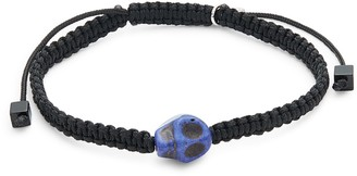 Tateossian Sterling Silver & Nylon Skull Cord Bracelet