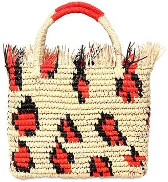 Sensi Canasta Frayed Leopard Straw Tote Bag
