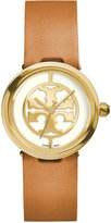 Tory Burch Women's Swiss Reva Light Brown Leather Strap Watch 28mm TRB4004