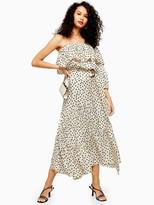 Topshop Tall Spot Tiered Midi Skirt - Monochrome