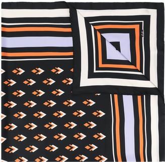 Valentino Graphic-Print Stripe-Detail Scarf