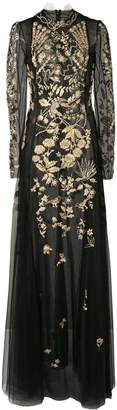 Oscar de la Renta long sleeved gown with gold embroidery