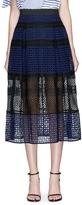 Self-Portrait Crosshatch pleated mix lace skirt