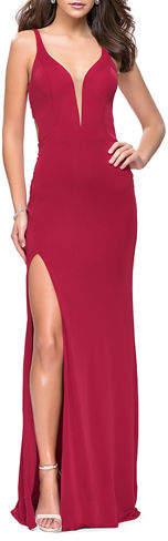 La Femme V-Neck Sleeveless Jersey Gown with Lace-Up Back & Slit