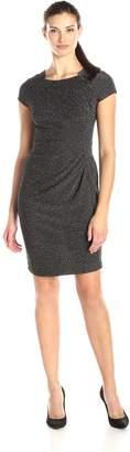 Julian Taylor Women's Short Sleeve Side Gathered Glitter Dress