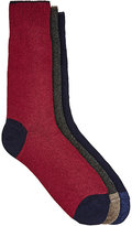 Barneys New York Men's Stockinette-Stitched Mid-Calf Sock Set-NAVY, BURGUNDY, DARK GREY, NO COLOR