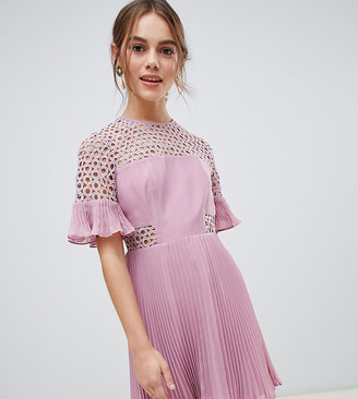 ASOS DESIGN Petite lace insert pleated mini dress