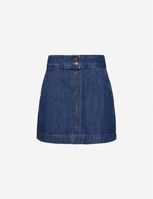 Benetton Button-through denim mini skirt